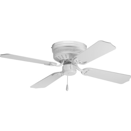 Progress Lighting P2524-30 42-Inch Hugger 4 Blade Fan with 3-Speed Reversible Motor with White Blades, White