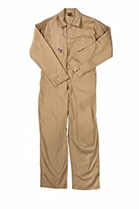 LAPCO CVFRD7KH-6XL RG Lightweight 100-Percent Cotton Flame Resistant Deluxe Coverall, Khaki, 6X-Large, Regular