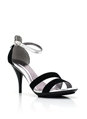 two-tone strappy kitten heels