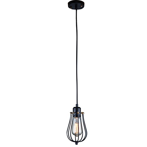 Ecopower Vintage Style Industrial Hanging Light Black Mini Pendant Wire Cage Lamp