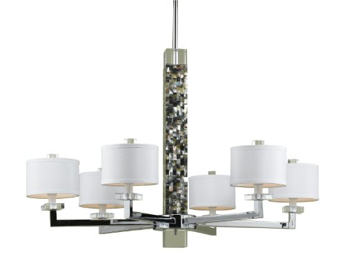 Candice Olson Sahara 6 x 40-Watt Light Handmade Candle Base Chandelier, Silver Nickel with Abalone Shell