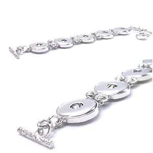 Time4-Charms Chunks silber Knebel Metall Armband für 5 Chunk Click Button Druckknopf Arm Toggle