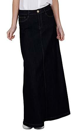 Denim Long Skirt - Indigo - Womens Blue Full Length (SKIRT36) at Amazon Womenu2019s Clothing store ...