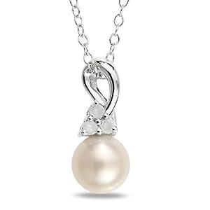 Sterling Silver 0.07 CT TDW Diamond Freshwater White Pearl Fashion Pendant (H-I, I3)