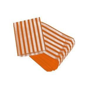 "Orange Candy Stripe Paper Bags - 5"" x 7"" - (1 pack = 100 bags)"