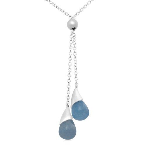 Sterling Silver Blue Quartz Drop Necklace
