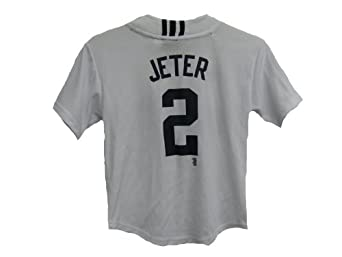 Derek Jeter New York Yankees White MLB Youth Button Up Replica Jersey Small 8 by adidas
