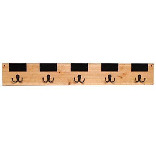 31 Inch Chalkboard Labels Rustic Brown Wooden Wall Mounted Coat Hooks Hanger Rack - MyGift�