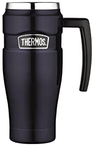 Thermos Stainless King 16-Ounce Leak- Proof Travel Mug with Handle, Midnight Blue