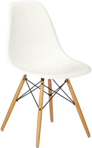 Vitra 440023000231 Stuhl DSW Eames Plastic Sidechair Gestell Ahorn, weiß