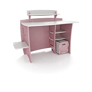 Legare 43-Inch Kids' Desk with File Cart, Pink/White