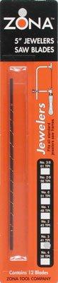 Zona 36-481 Jewelers Saw Blades, Universal No3, 030-Inch x 014-Inch x 41 TPI, 12-Pack