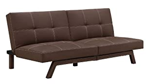 Delaney Splitback Futon Modern Design and Compact in Brown, by DHP (003182198DS)
