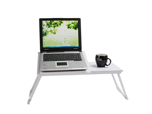 Vecelo White Height Adjustable Laptop Desk Table Foldable Stand Tray. (style 5)