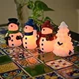 4 Piece Snowman LED Candle Set 3 X 6 And White Xmas
