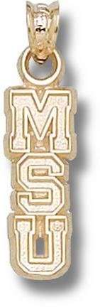 Michigan State Spartans Vertical MSU 5 8 Pendant - 14KT Gold Jewelry by Logo Art