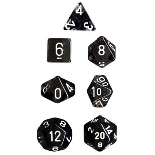 Polyhedral 7-Die Translucent Chessex Dice Set - Smoke with White