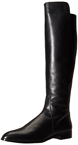 Delman Women's D-Buena-B Riding Boot, Black Burnished Leather, 7.5 M US