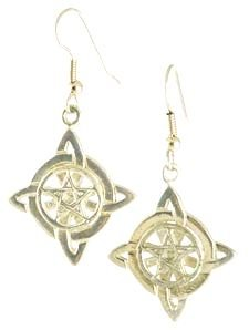 Witches Knot Pentagram Pentacle Silver Tone Earrings
