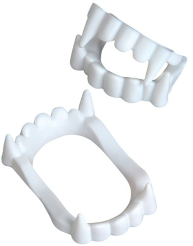White Economy Plastic Costume Accessory Vampire Werewolf Fangs Teeth Kit