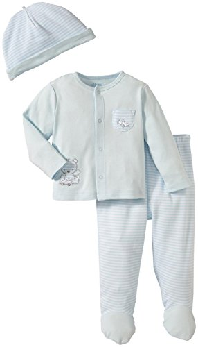 Little Me Baby-Boys Newborn Playtime TMH Pant Set, White/Light Blue, 3 Months