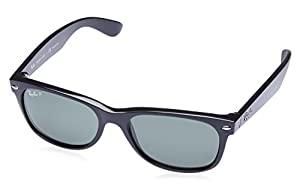 Ray-Ban RB2132 New Wayfarer Polarized Sunglasses,BlackFrame/Blackish green Polarized Lens,55 mm