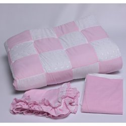 Gingham Patchwork Sheet Color:Pink Gingham-Flat front-1021551