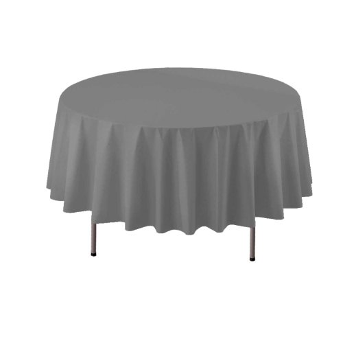 "Party Essentials ValuMost Round Plastic Table Cover, 84"", Silver"
