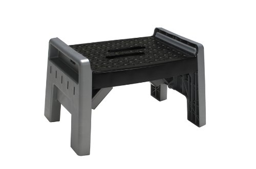 Cosco 11-905Pbl4 Molded Folding Step Stool, Platinum back-925195