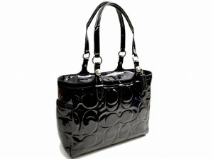 Coach Embossed Signature Patent Leather East West Gallery Bag Purse Tote Black