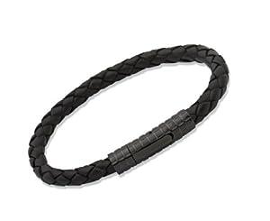Unique Men 19cm Black Leather Bracelet With Black Patterned Stainless Steel Clasp by Unique Jewelry Ltd