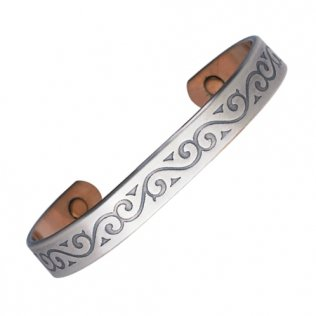 Magnohealth ASMW4 Magnetic Silver Plate Copper Bracelet