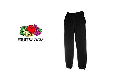 pantalone tuta FRUIT OF THE LOOM felpato con elastico e cordoncino in vita tasche ed elastico caviglie gr.280 (TG.M, NERO)