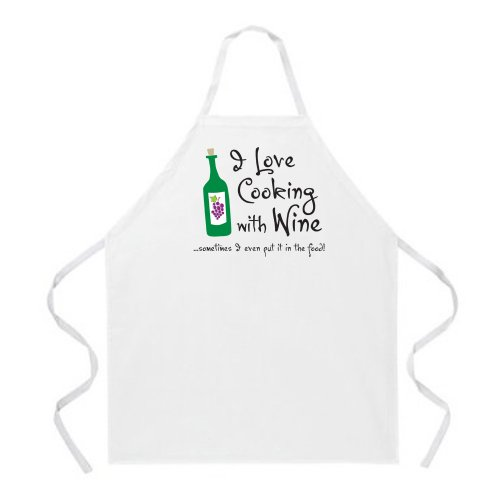 Attitude Apron Cooking with Wine Apron, Natural, One Size Fits Most