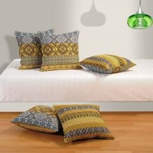 Swayam Drape And Dream Cotton 5 Piece Cushion Cover Set - Yellow (CC165-1405)