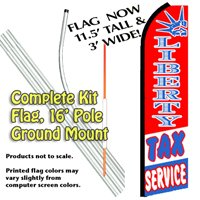 Liberty Tax Service Feather Banner Flag Kit (Flag, Pole, & Ground Mt)