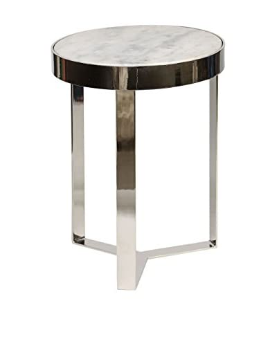 Prima Design Source Contemporary Metal & Stone Accent Table, Polished Nickel