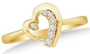 Size 4 - 10k White Gold Ladies Womens Round Diamond Heart Ladies Cluster Ring (1/10 cttw.)