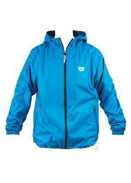 ARENA hooded f/z windbreaker FIN II pix,blue (M)