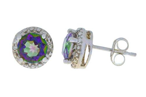 14Kt White Gold Natural Mystic Quartz & Diamond Round Stud Earrings