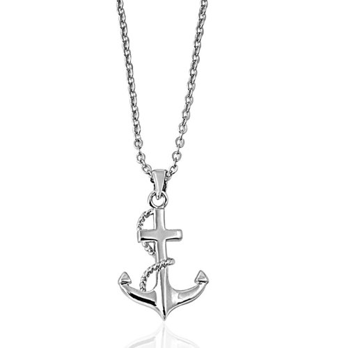Brand New Ladies Rhodium Plated Brass Anchor Charm Necklace