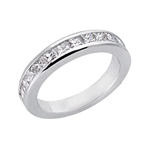 14k White Gold Diamond Princess Band Ring - JewelryWeb