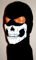 Thick Black Skull Ghost Balaclava 2 Hole Hood Full Face Winter Ski Mask