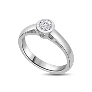 Ladies 0.25ct Solitaire Diamond Engagement Ring in a Rubover Setting colour G & SI1 clarity in 18ct white gold - M