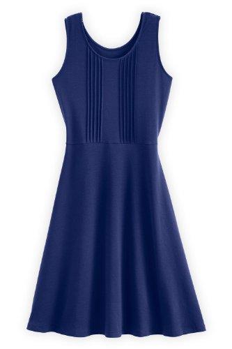 Fair Indigo Pleated Front Fair Trade Organic Dress (S, Marine Blue)