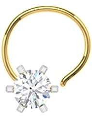 TBZ - The Original 18k (750) Yellow Gold And Diamond Solitaire Wire Nosepin - B01H02NVYM