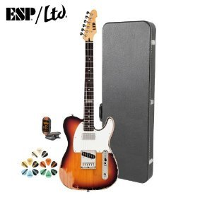 Esp Te Te-202-3Tb-Kit Distressed 3-Tone Burst Electric Guitar With Tuner, Picks And Chroma Cast Hard Case