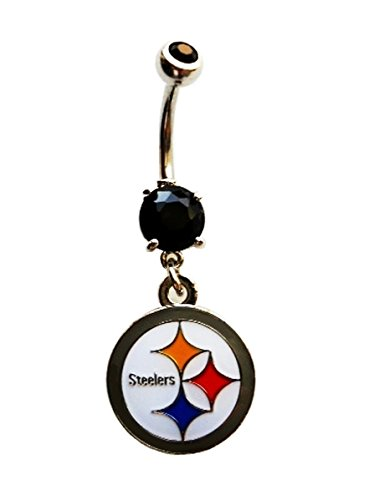 NFL Pittsburgh Steelers Football Navel Belly Button Ring Body Jewelry Piercing