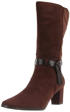 Easy Street Women's Miracle Boot,Brown Faux Suede/Croco,6 W US