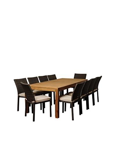 Amazonia Teak Washington 11-Piece Wicker Rectangular Dining Set with Off-White Cushions, Brown